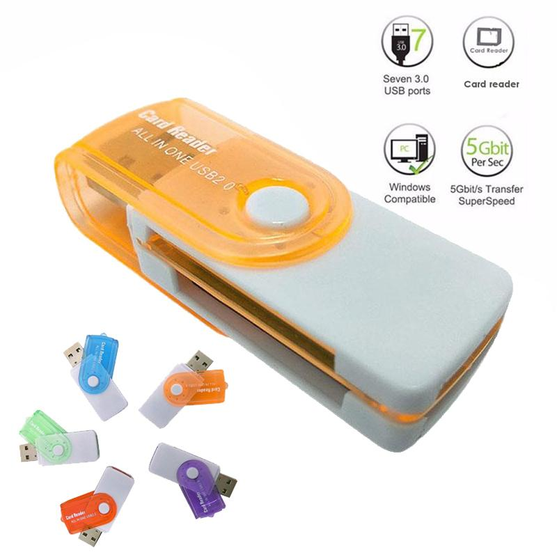 USB 2.0 SD TF MS Duo MS Micro Memory Card Reader 480Mbps Rotary Multifunctional