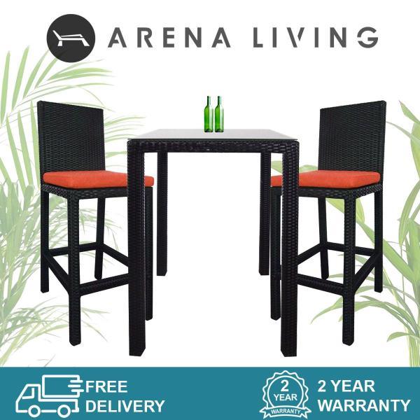 Arena Living Midas 2 Chair Bar Set Orange Cushion