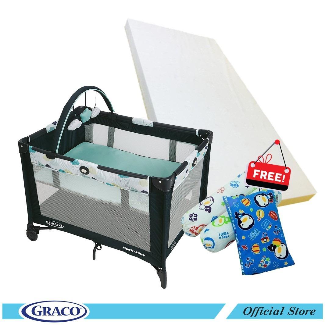 Graco Pnp Base Folding Feet Stratus Free Puku Mattress 3Pcs Bedding Set For Sale