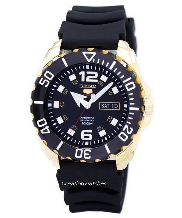 Seiko 5 Sports Automatic Men's Black Rubber  Strap Watch SRPB40K1