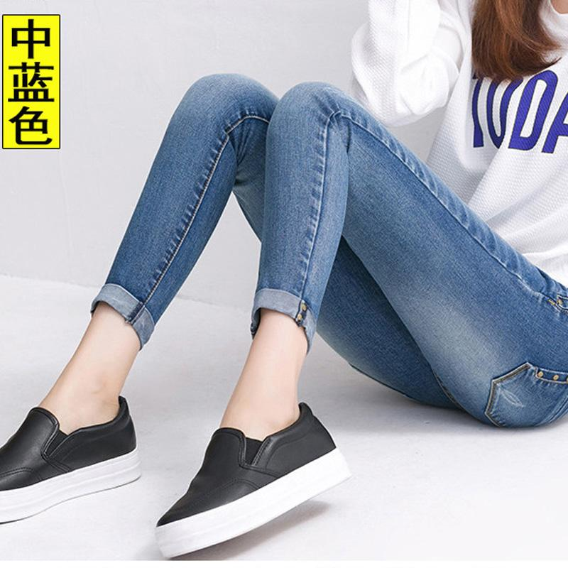 2018 Spring And Summer New Style Elasticity Jeans Schoolgirl Capri Pants Korean Style Crimping Tight Skinny Pencil Pants Slim Fit By Taobao Collection.