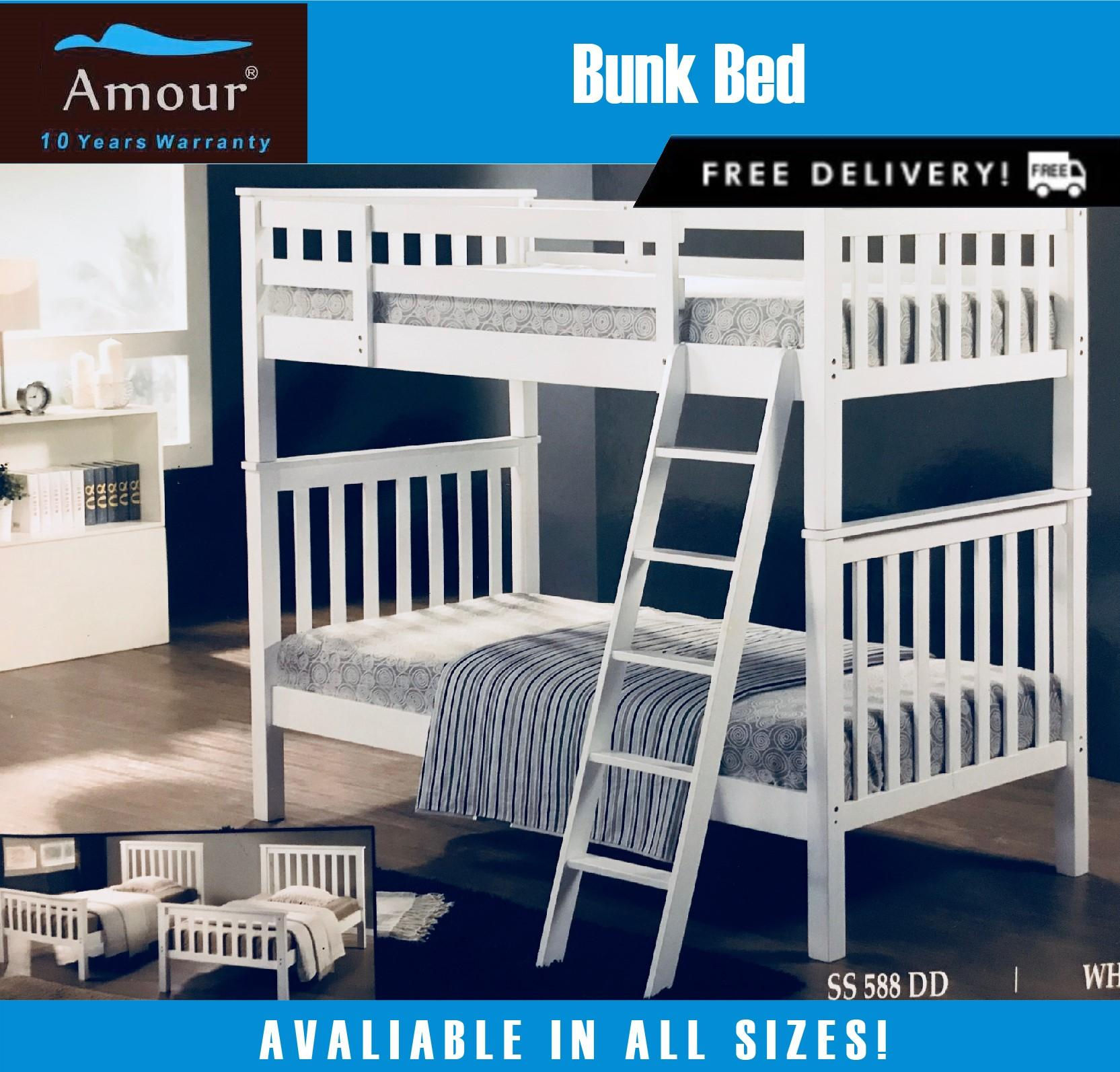 Amour Brand Wooden Double Decker bed / Bunk Bed 10 Years warranty.Best in Lazada