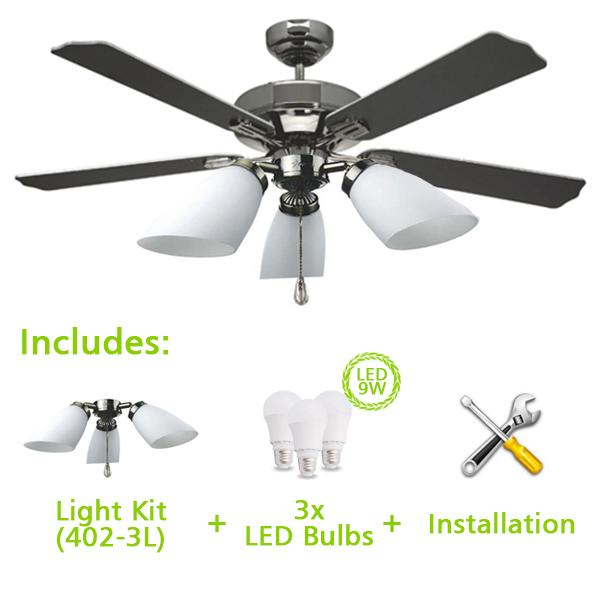 Fanco Ceiling Fan E Series Ffm 2000 52inch Includes Light Kit 402 3l