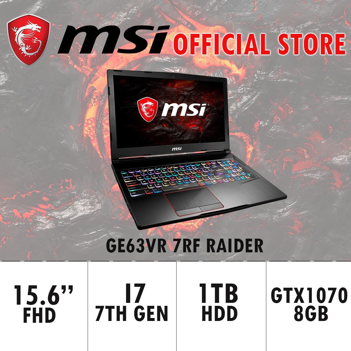 MSI GE63VR 7RF RAIDER - 262SG (I7-7700HQ/16GB DDR4/256GB SSD+1TB HDD 7200RPM/8GB NVIDIA GTX1070) GAMING LAPTOP