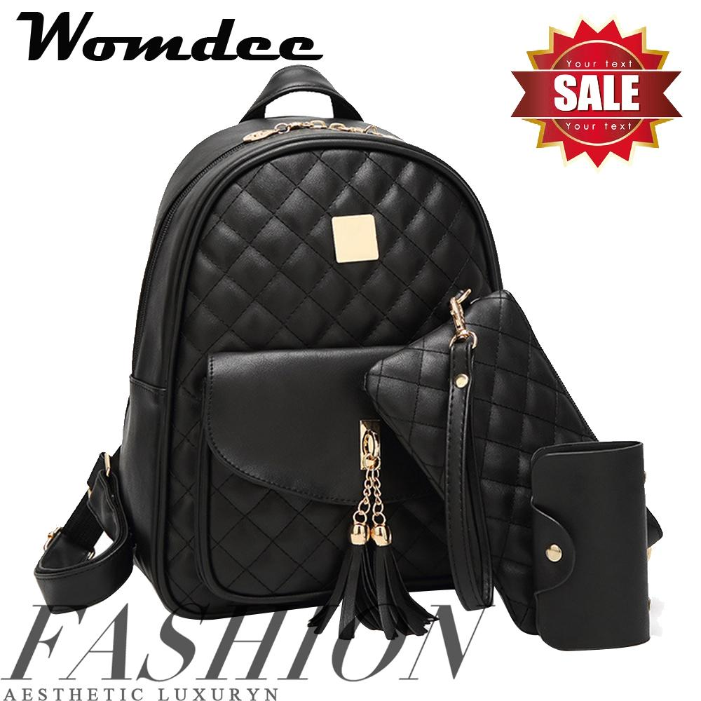 f26083aa3e7 Womdee Pawaca Women Black PU Leather Bags Backpack For Girls Tassel  Schoolbag - Casual Daypack Backpack - intl
