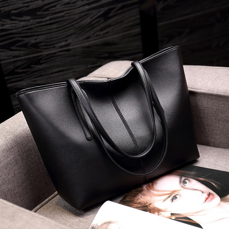 Cowhide One-Shoulder Big Book Bags Female 2019 New Style Versitile Fashion Simple Large Capacity Tote Bag Hand Womens Leather Bags
