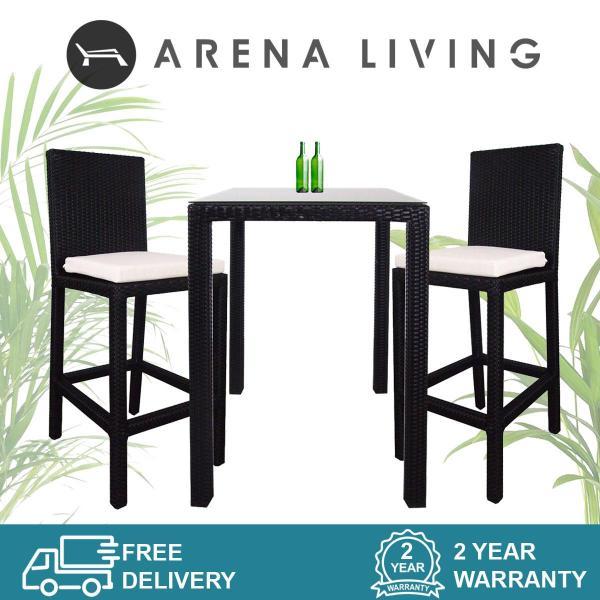 Arena Living Midas 2 Chair Bar Set White Cushion