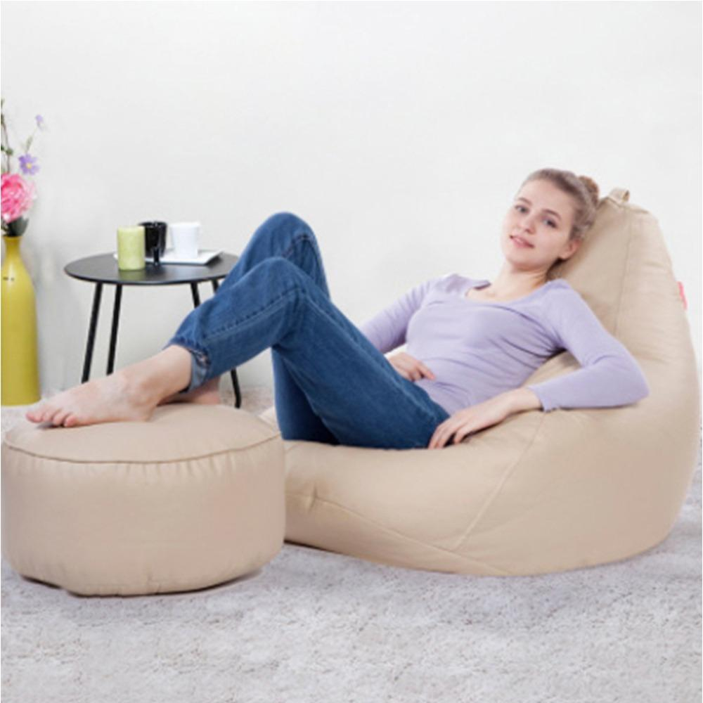 JIJI Nano Bean Bag 90 x 70 x 80 cm With Leg Rest Stool - Beanbag/ Bean bag Chair /Styrofoam particles filled/ Fabric outer layer/ Washable / small sofa (SG)