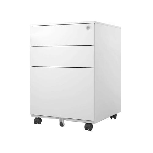 White Steel Mobile Pedestal with 2D1F