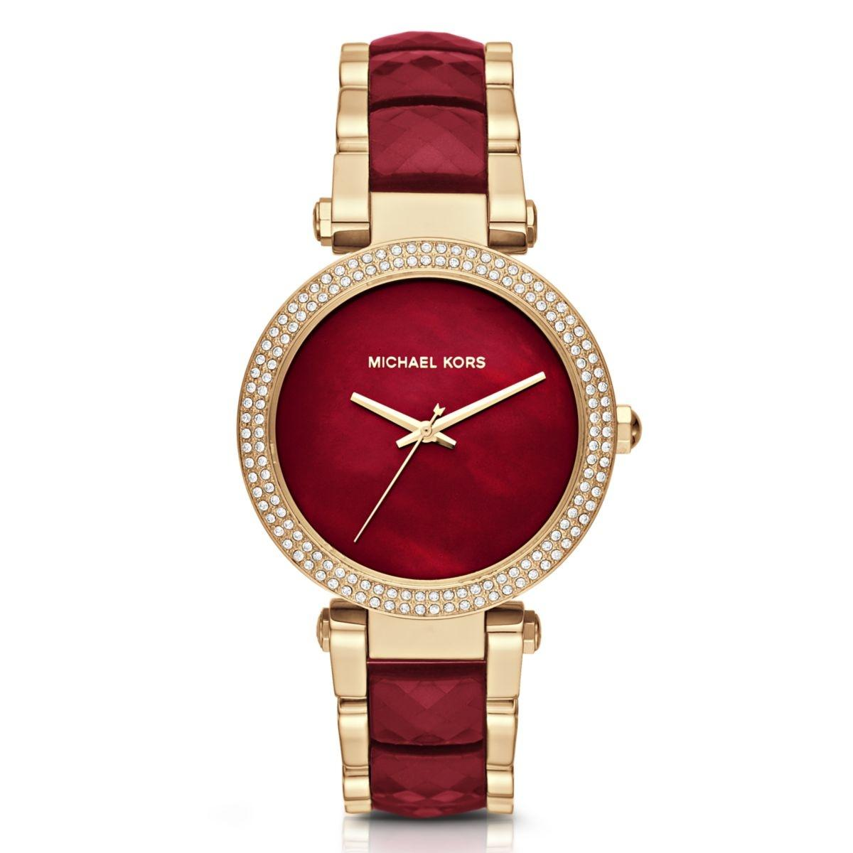 [new] Michael Kors Parker Red Or Gold Mother Of Pearl Dial 39mm Ladies Quartz Watch Mk6425 Mk6427 By Watch Centre.