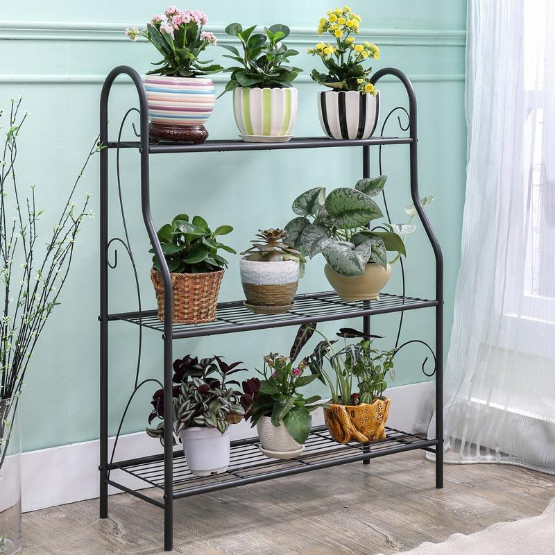 MWT1 Floor Flower Stand Iron Art Multilayer Living Room Terrace/Patio Flowerpot Shelf Wall Hangers Epipremnum Aureum Succulent Flower Rack