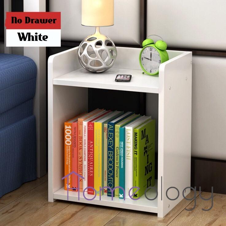 Bedside Table Space Saving Shelve Cabinet Study Desk