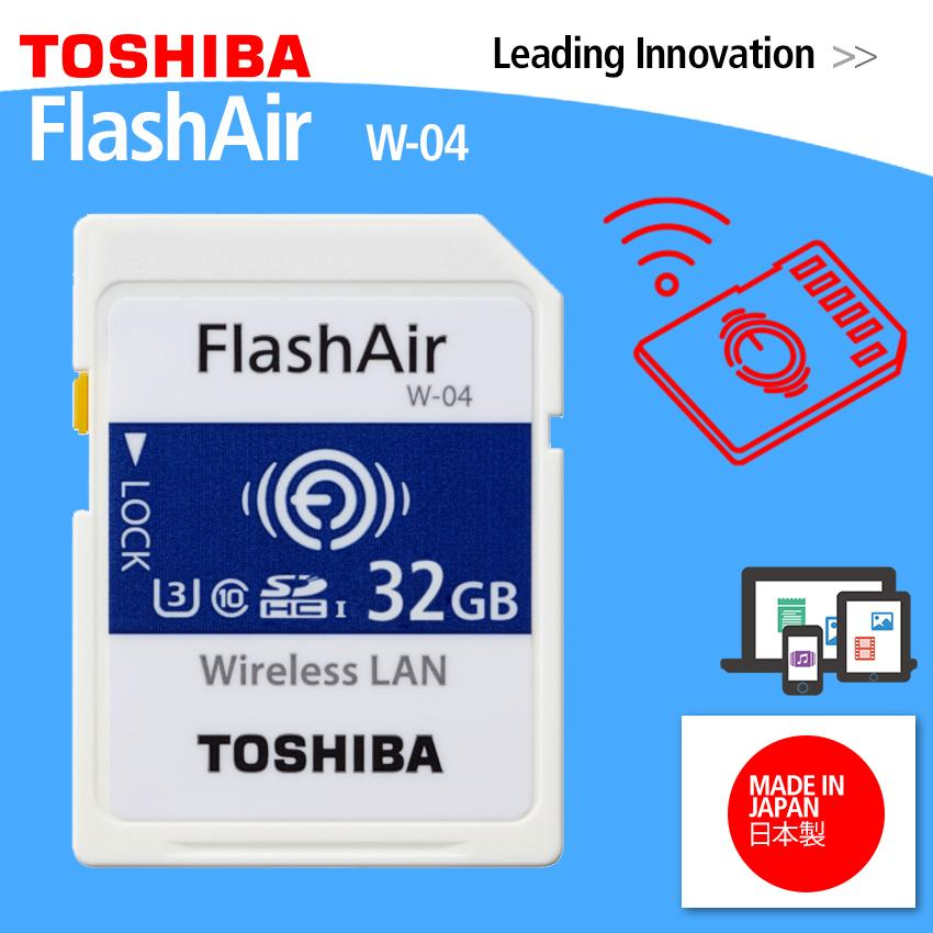 Toshiba Flashair W-04 - 32gb Wireless Wifi Sdhc Memory Card By Vector Magnetics.