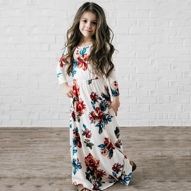 Price 2018 Bohemian Floral Flowers Print Long Dresses Spring Autumn Party Dress Fashion Children Clothing Outwear Girls Dress 2 10T Intl Not Specified Original