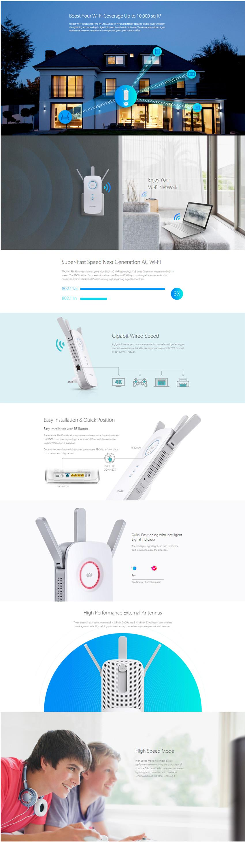 Buy TP-Link RE450 AC1750 Universal WiFi Range Extender/Easy WiFi Booster  with Three Adjustable External Antennas (Wall Plug WPS function Gigabit LAN