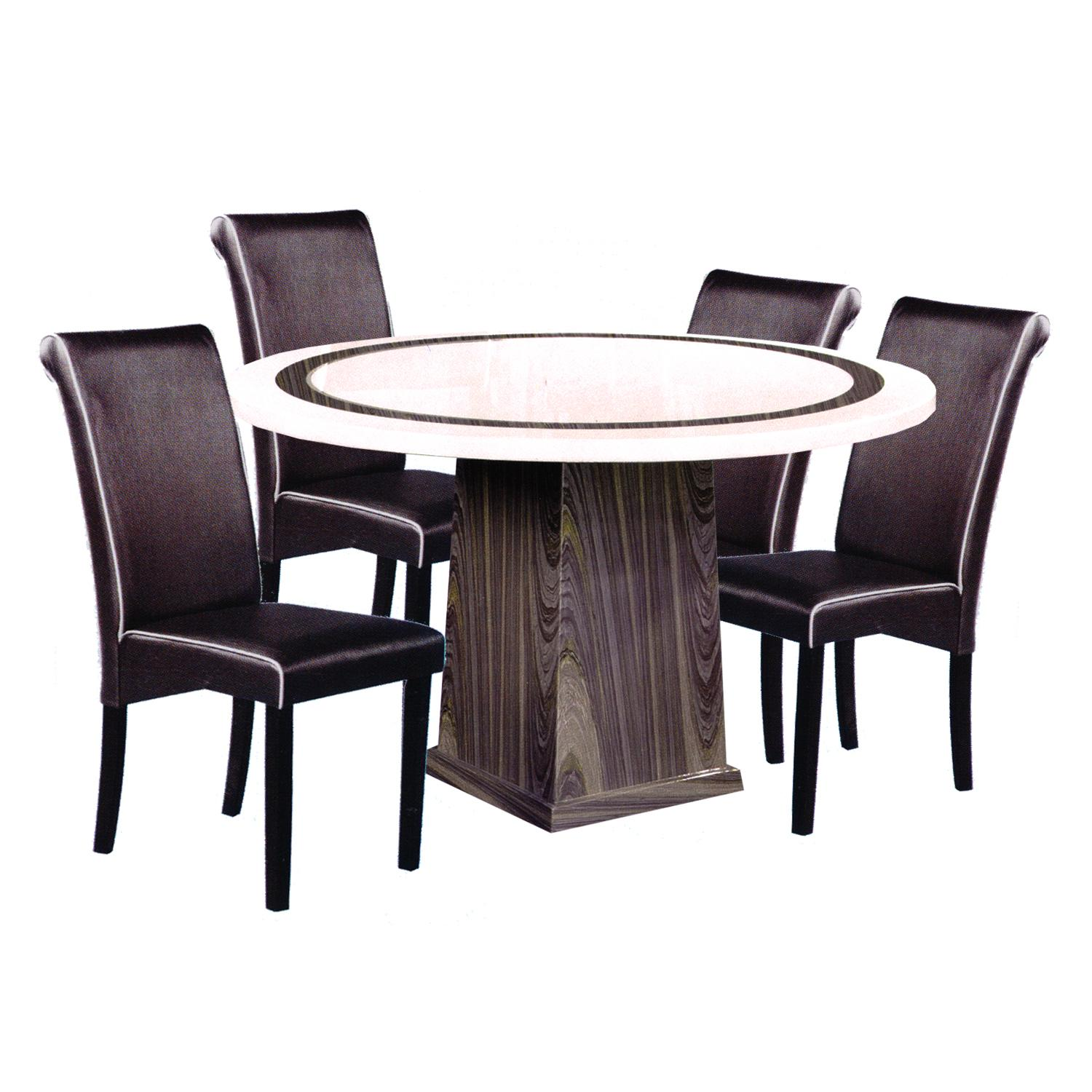 SORA / BARRY Marble Top 1+4 Dining Set