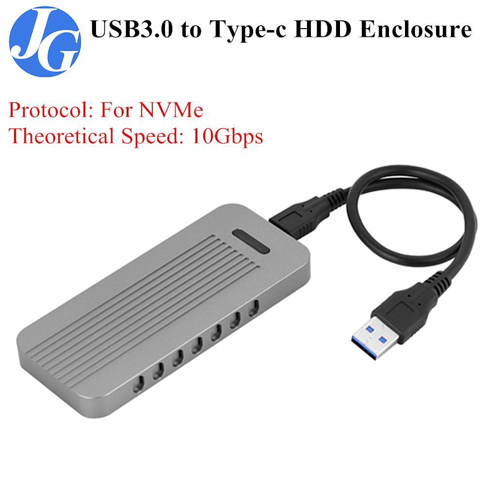 Justgogo Portable USB 3.0 NVME Aluminum Type-C 3.1 M.2 Hard Disk Drive HDD Enclosure
