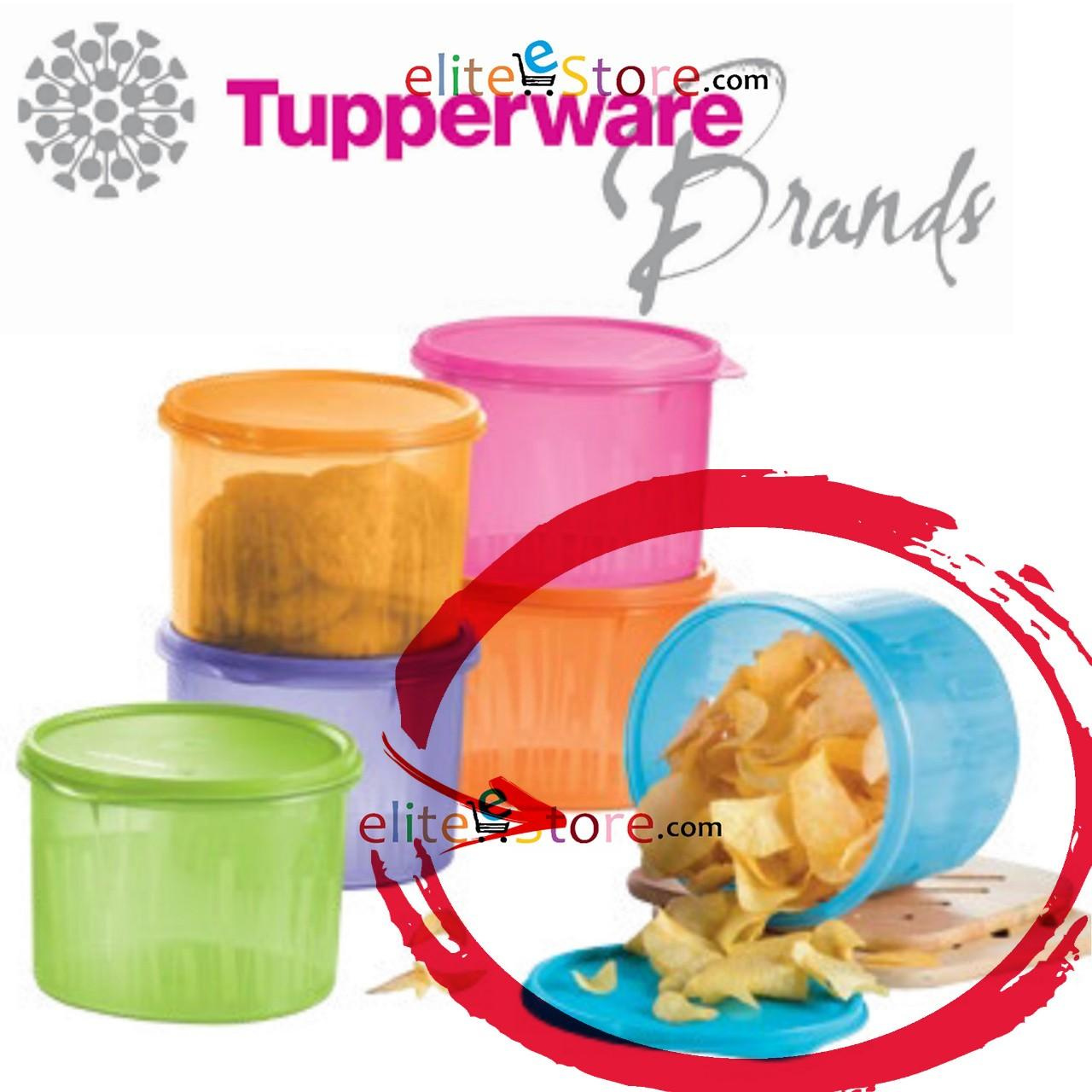 Discount Tupperware Textured Canister Blue 2 4L Airtight Keep Food Crips And Fresh