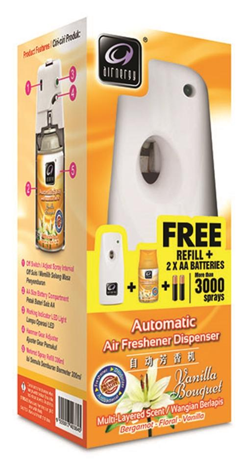 Airnergy AZ550 Automatic Air Freshener Dispenser Starter Pack - VANILLA