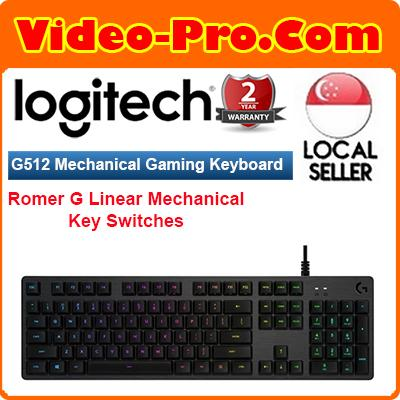 Logitech G512 Carbon RGB Backlit Mechanical Gaming Keyboard w/Romer-G Linear Key Switches 920-008762 Singapore