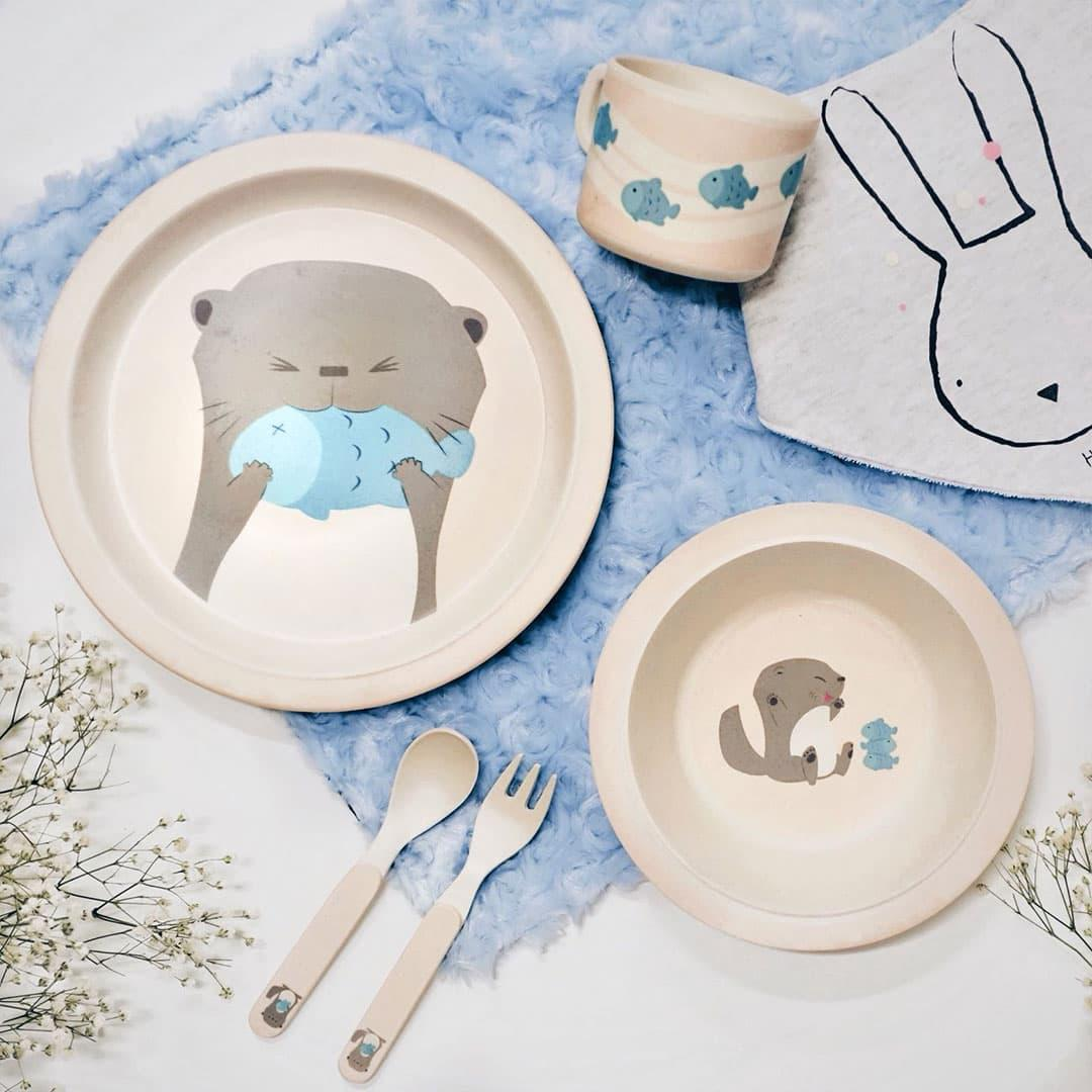 Rainforest Friends 5pcs Kids Cutlery Set - Otter (by Local Sg Designer) By Adertek Lifestyle Pte Ltd.