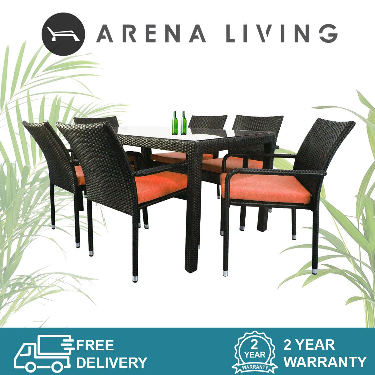 Boulevard 6 Chair Dining Orange Cushion, Outdoor Furniture by Arena Living™