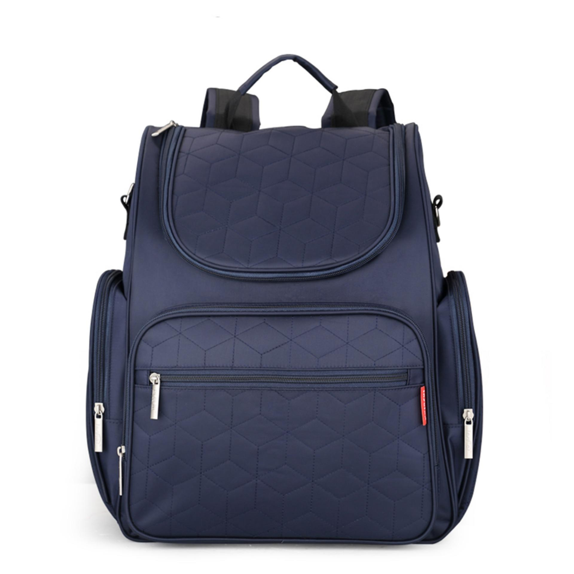 fe8b6ee0c Large Capacity Mummy Maternity Backpack Multi-functional Baby Diaper Bag  Changing Mat(Navy Blue