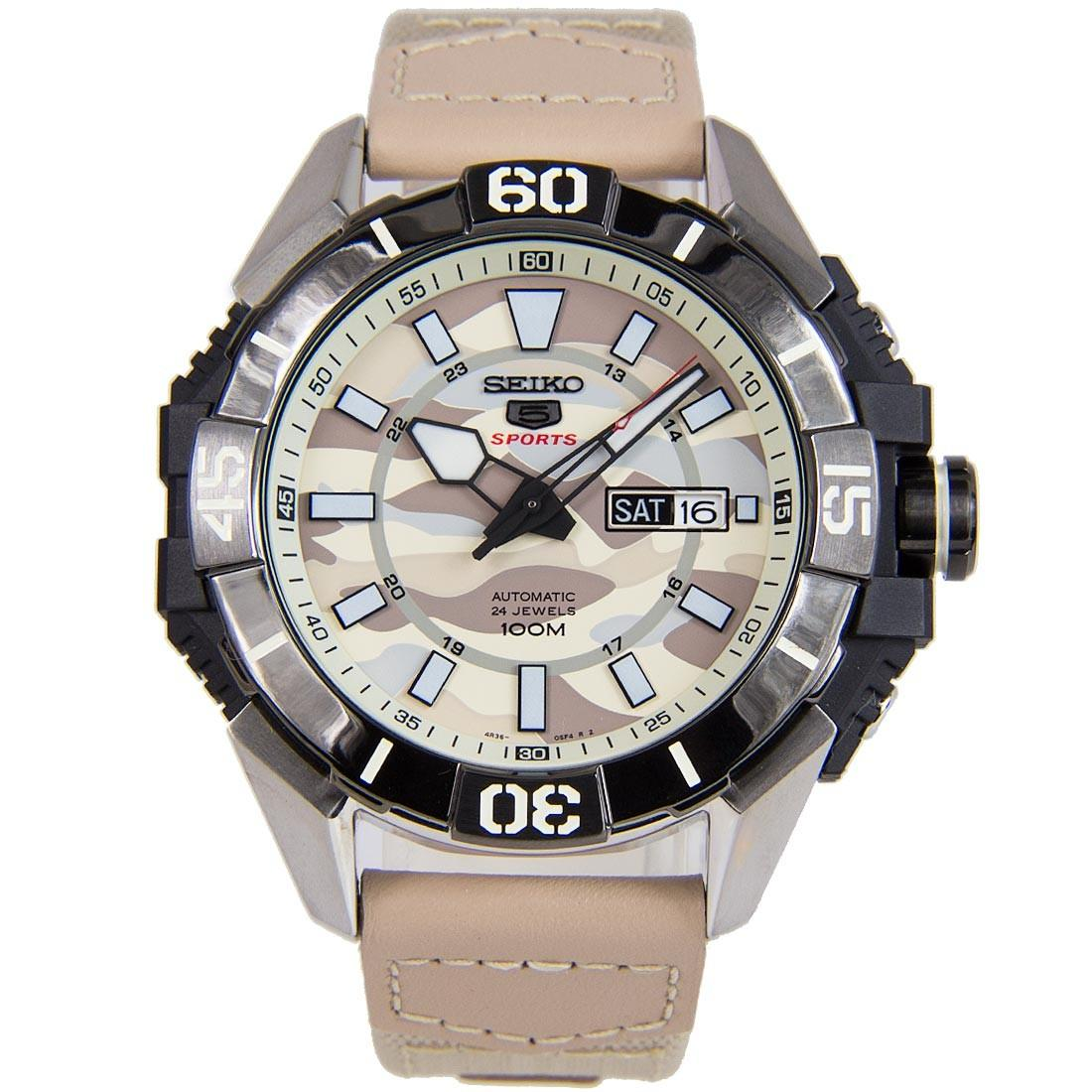 Seiko 5 SRPA01K1 SRPA01K SRPA01 Sports Automatic Camouflage Dial  Leather Nylon 100M Men's Watch