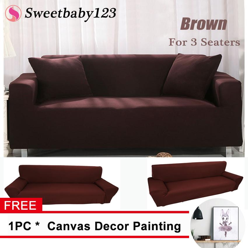 [Free Gift] 3 Seater Polyester Sofa Chair Cover Couch Cover Brown - intl