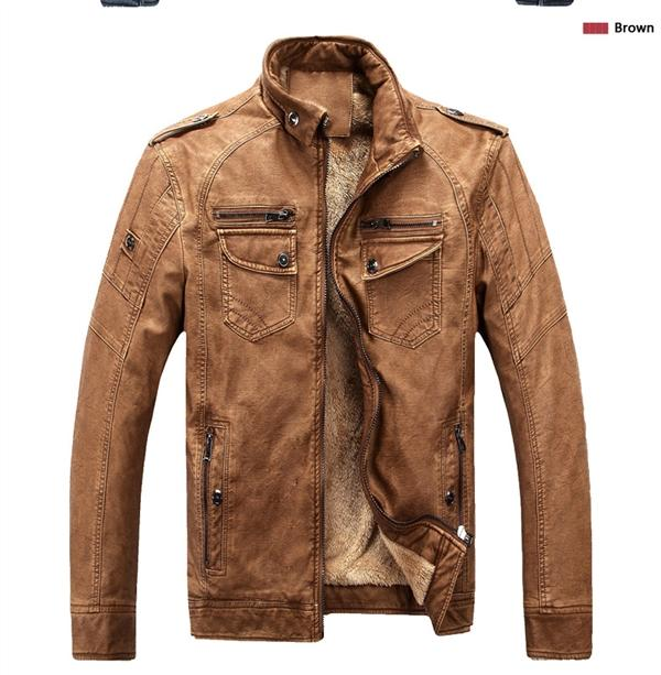 Oto2 Men Thick Leather Jacket Locomotive Motorcycle Man Coat By Taobao Collection.