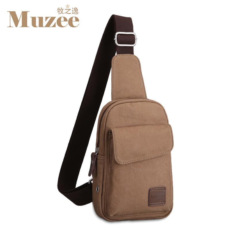 MUZEE Chest Male Shoulder Bag Korean Style Canvas Messenger Bag Men Bags Casual Sports Students Small Backpack