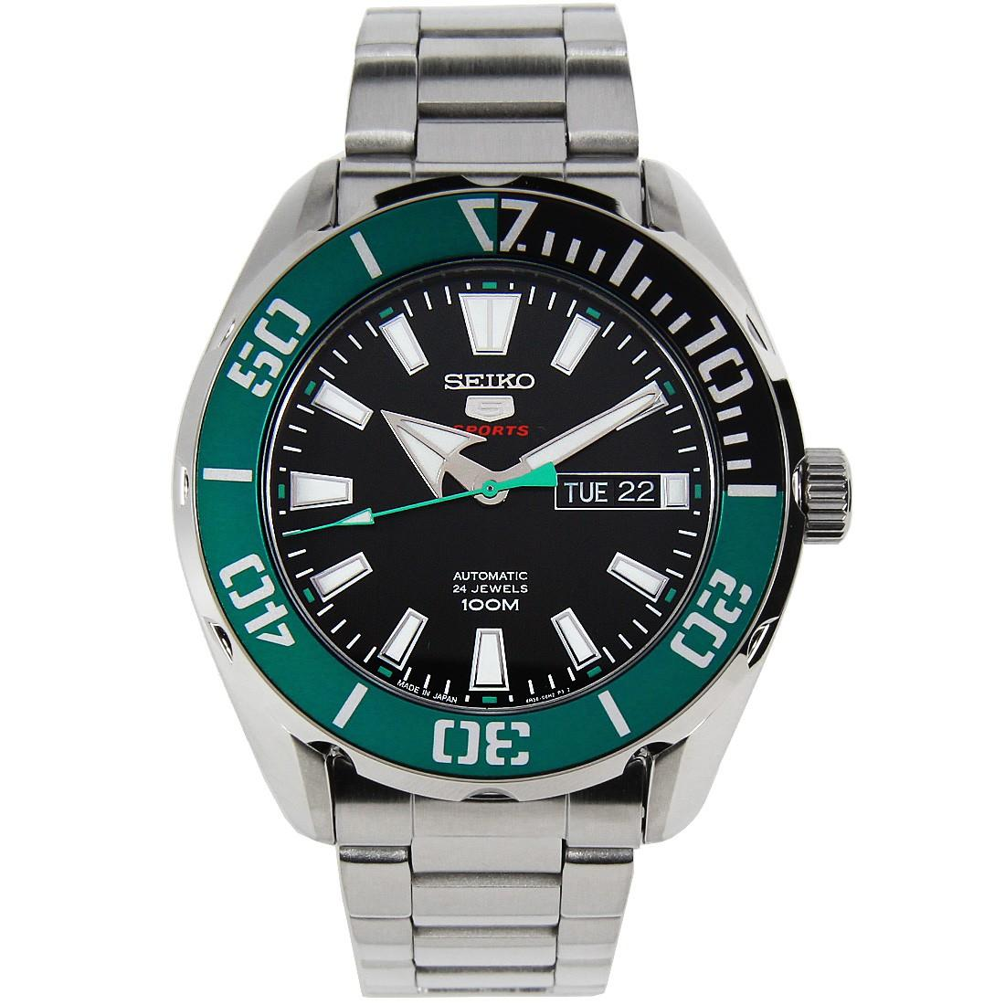 * MADE IN JAPAN * SEIKO 5 SPORTS GREEN BEZEL & BLACK DIAL MENS AUTOMATIC WATCH SRPC53J