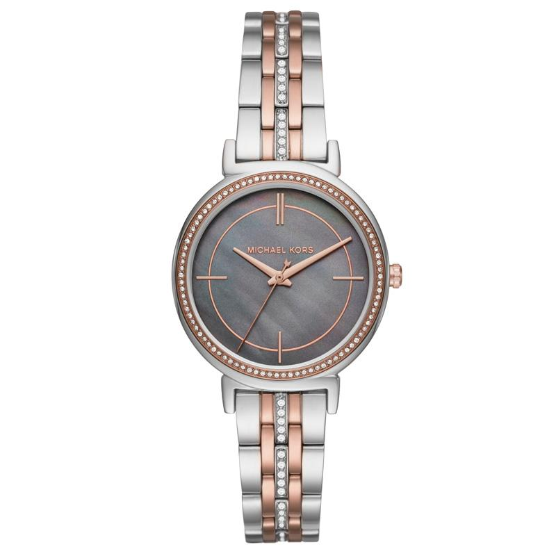 Michael Kors Cinthia Grey Mother Of Pearl Ladies Crystal 33mm Ladies Watch Mk3642 By Watch Centre.