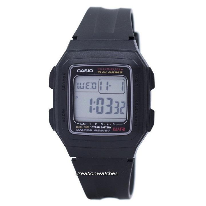 Sale Casio Digital 5 Alarms Dual Time Illuminator Men S Black Resin Strap Watch F 201Wa 1Adf
