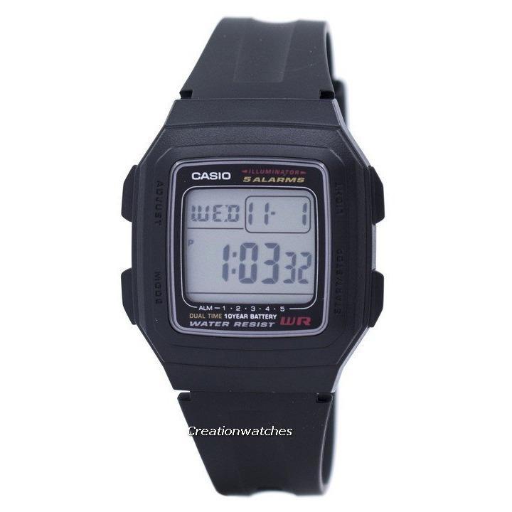 List Price Casio Digital 5 Alarms Dual Time Illuminator Men S Black Resin Strap Watch F 201Wa 1Adf Casio