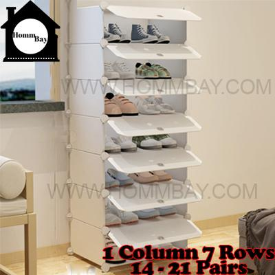 DIY Shoe Shoes Rack Storage Drawers Multi Purpose Modular Organizer Plastic Cabinets I WW Series I 1 Column 7 Rows