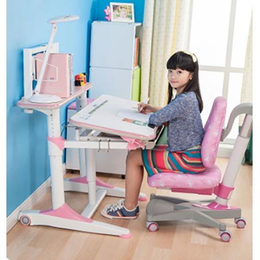 Pink E1100 Kids Ergonomic Study Table (Includes White Rack)
