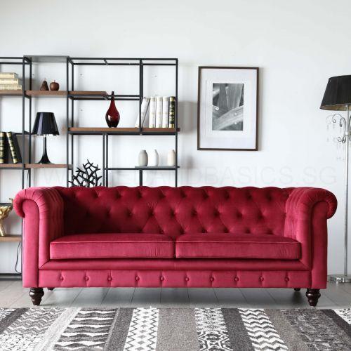 [ Bedandbasics ] Hugo Chesterfield Sofa - Red Velvet Fabric