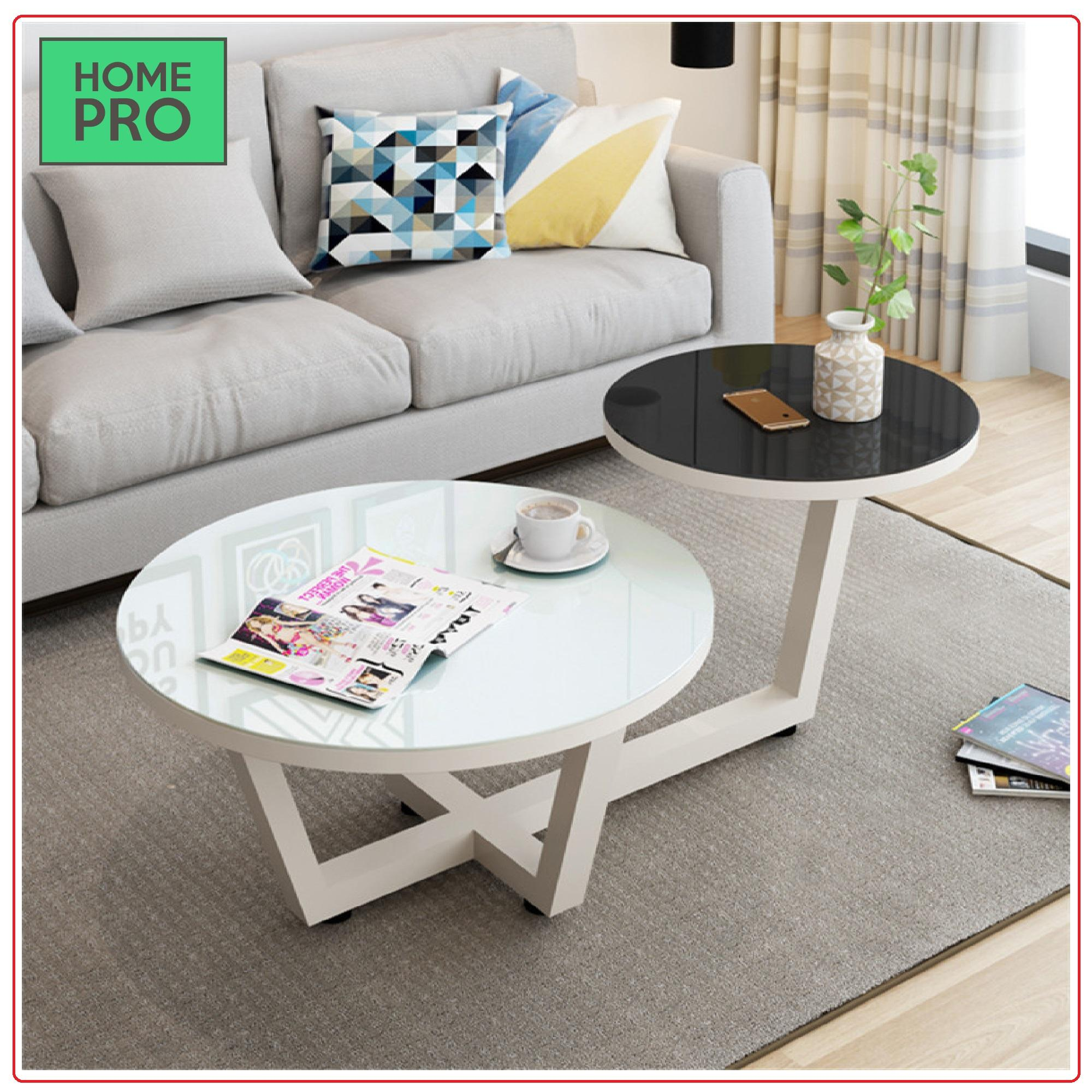 Nordic classic coffee table, white and black, 2 layers elegent