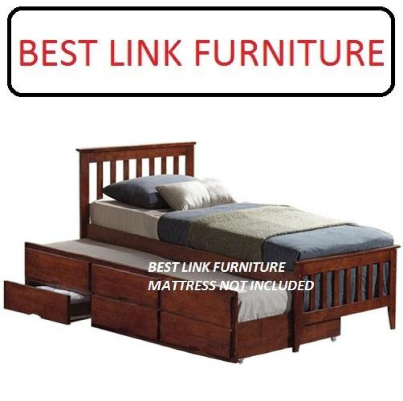 BEST LINK FURNITURE BLF Galvin  Single Wooden Pull Out Bed With 3 Drawers