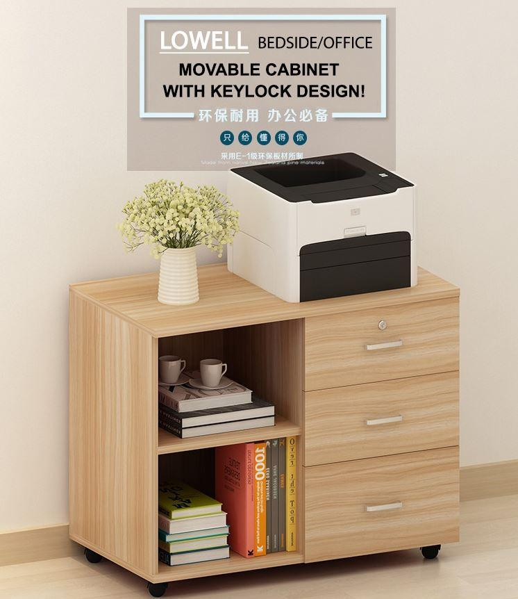 JIJI LOWELL Bedside/Office Movable Cabinet (Design B) With Keylock Dual Drawers (FREE Installation) - Furniture / Tables / Space Savers (SG)