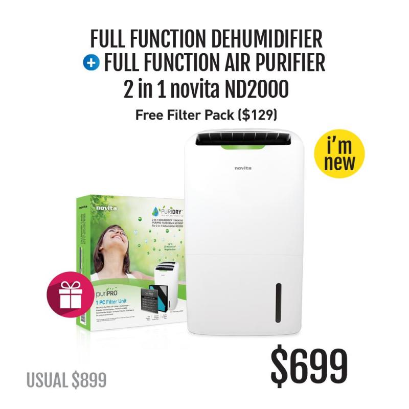 novita PuriDry™ 2-In-1 Dehumidifier ND2000 with HEPA Air Purification + FOC Filter Pack Singapore