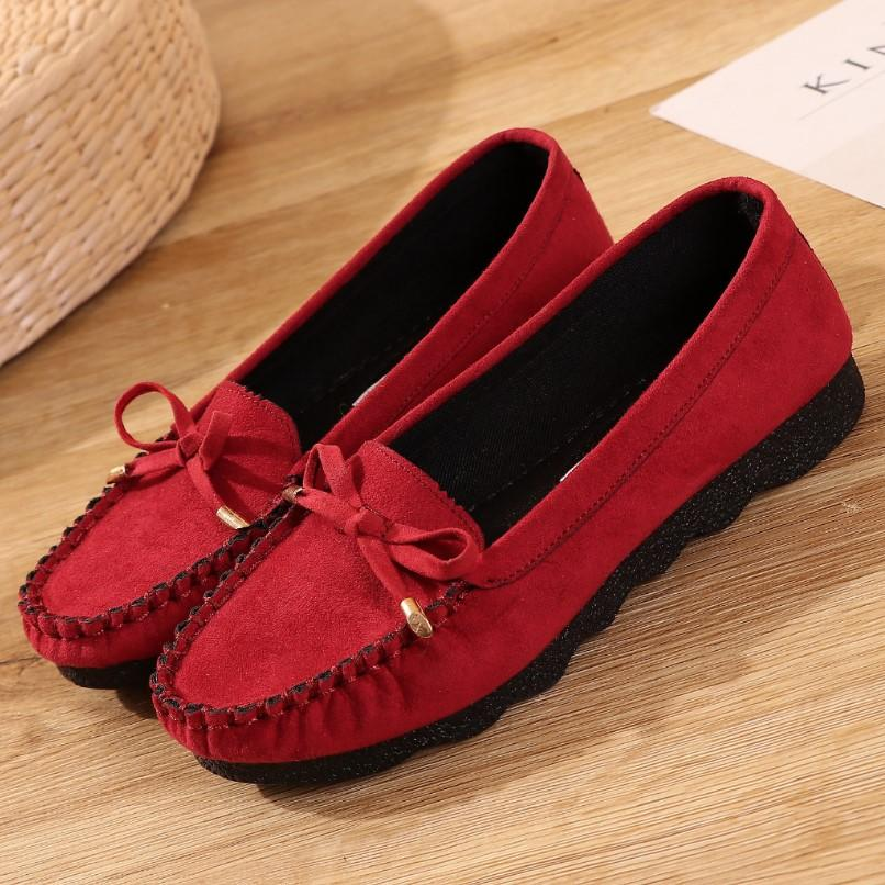 Old Beijing Cloth Shoes Women s Shoes Moccosins Flat Heel Soft Bottom Bow  Black SINGLE-LAYERED b2b6154a97