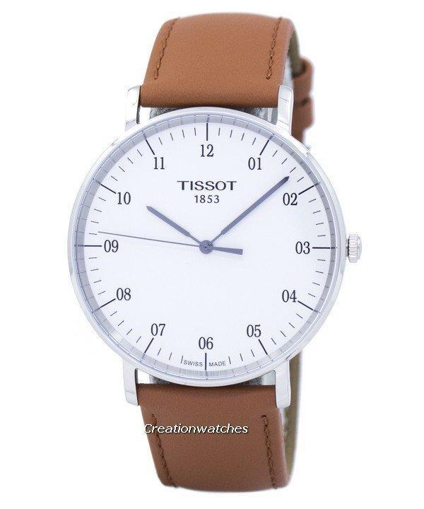 Sale Tissot T Classic Everytime Quartz Men S Brown Leather Strap Watch T109 610 16 037 00 Singapore Cheap
