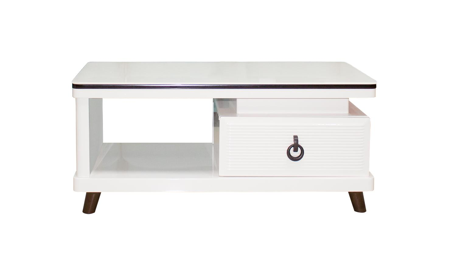 Rectangle Coffee Table - White Color - Drawer - Free Delivery - CT68
