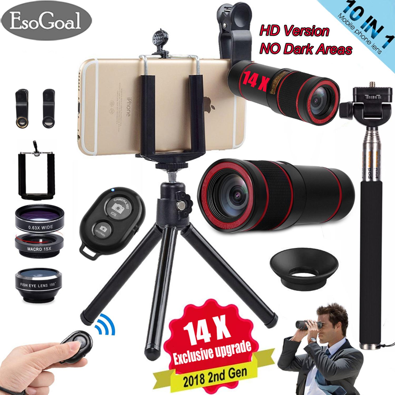 Esogoal Updated 10 In 1 14x Zoom Telephoto Lens + Fisheye + Wide Angle + Macro Lens + Selfie Stick Monopod + Bluetooth Remote Control + Mini Tripod With Phone Holder For Mobile Phones By Esogoal.
