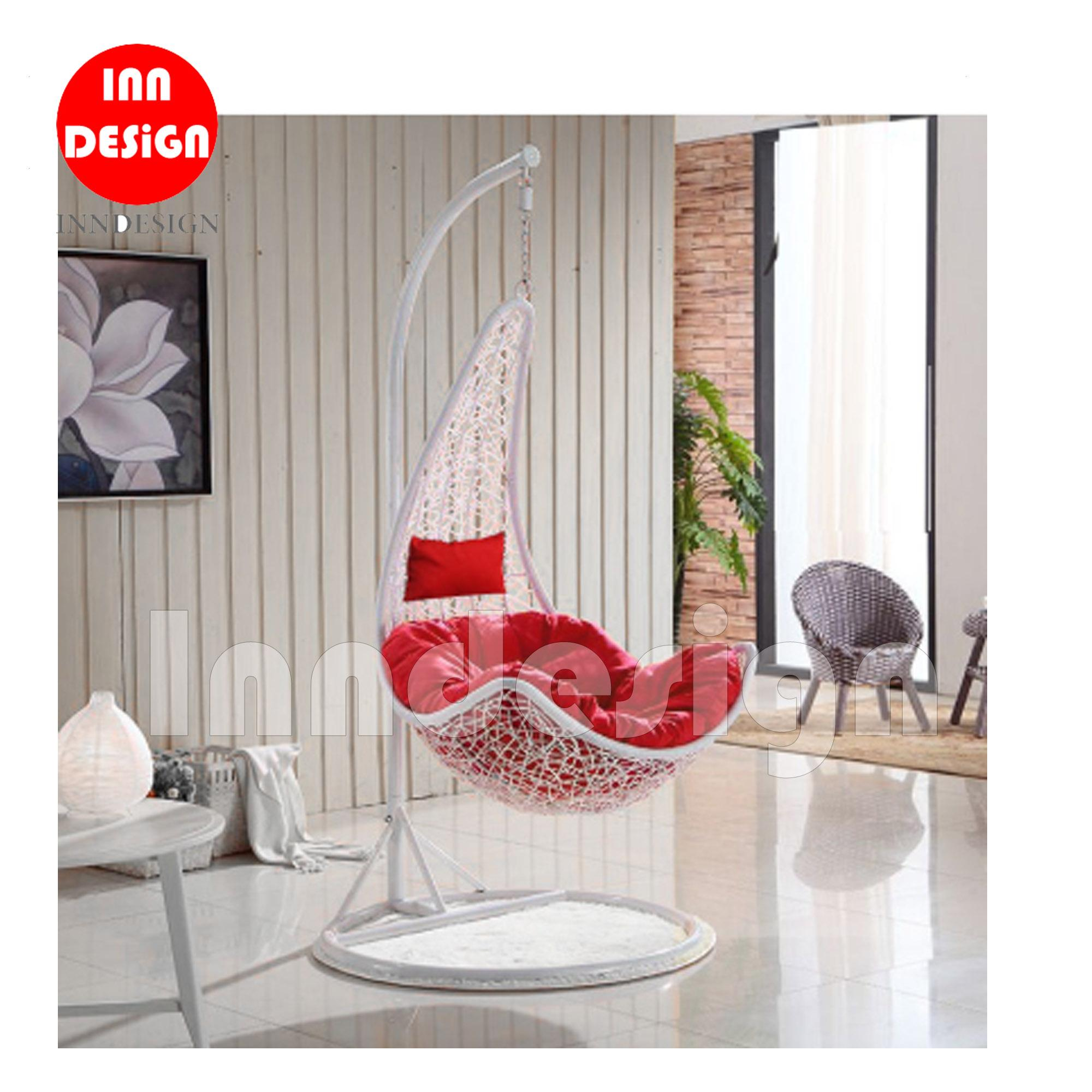 Miki Swing Chair / Lounge Chair / Relax Chair (White + Red)