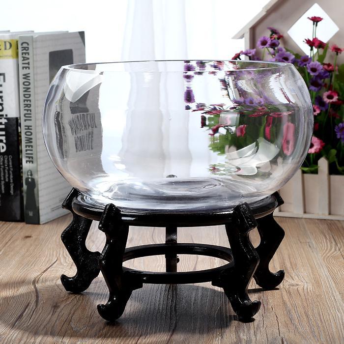 Round Transparent Glass Goldfish Tank