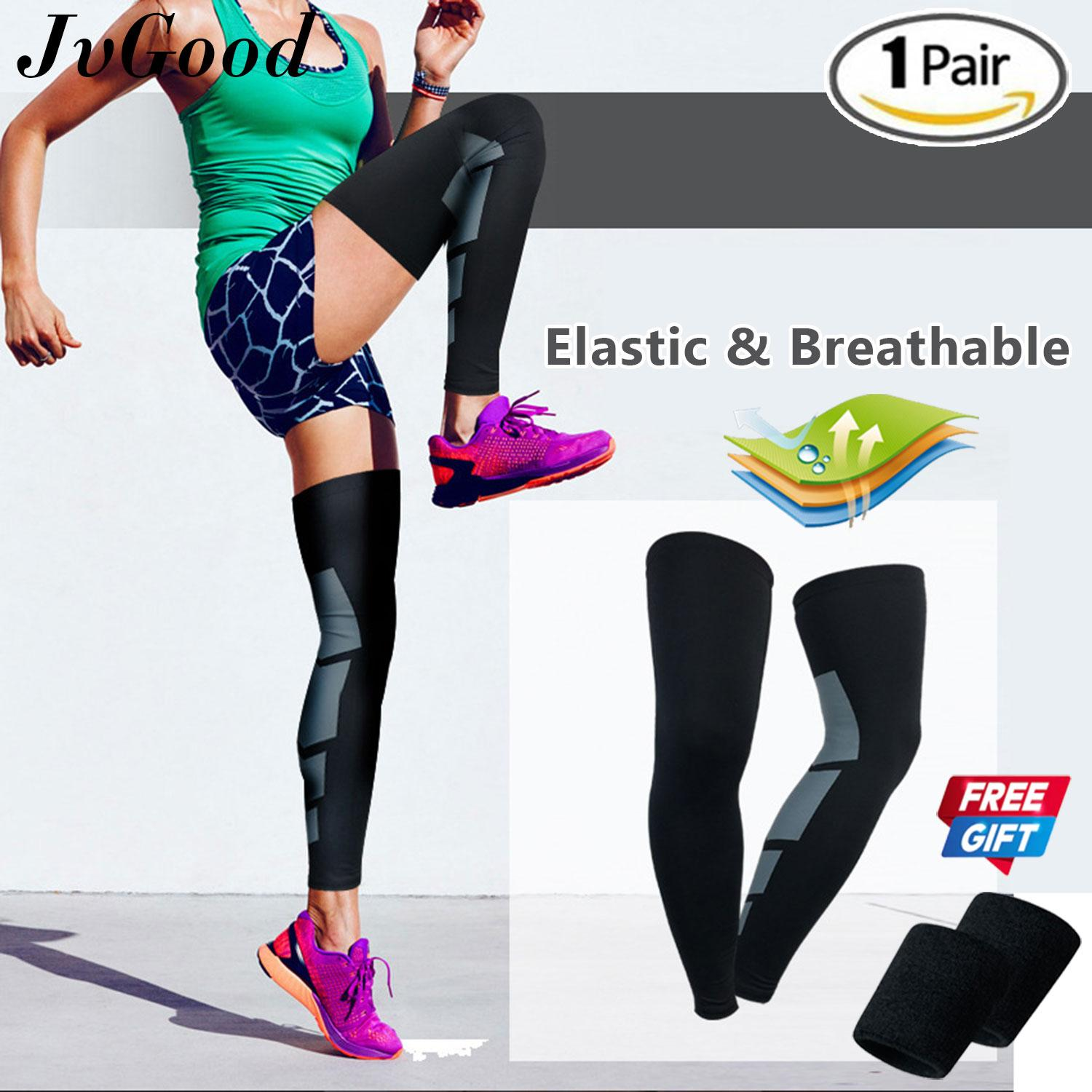 Jvgood Recovery Compression Leg Sleeve Sport Stretch Knees Long Support Pads Calf Support Sports Leg Knee Support Protective Pad Outdoor Sports Support Guards With Free Wrist Guard By Jvgood.