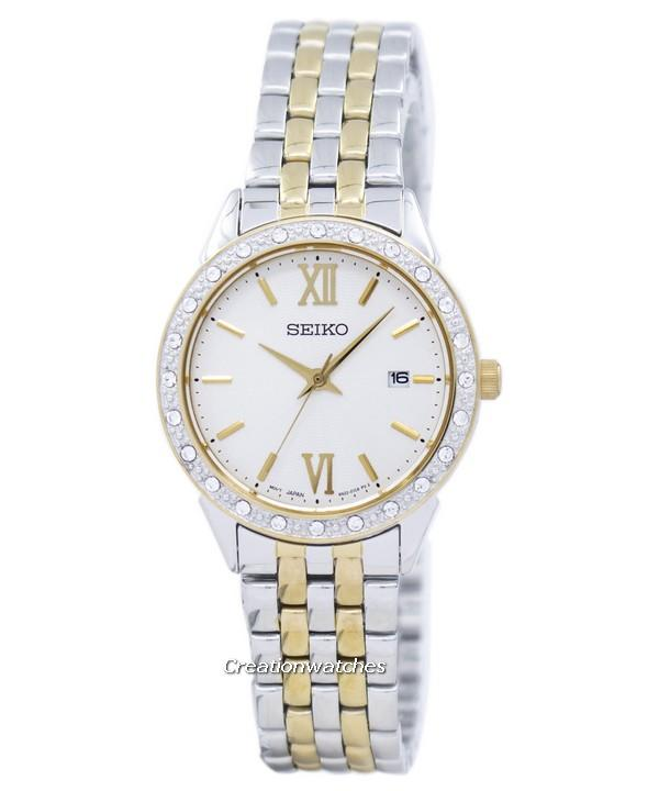 Seiko Quartz Diamond Accent Womens Two Tone Stainless Steel Bracelet Watch Sur690p1 By Creationwatches.